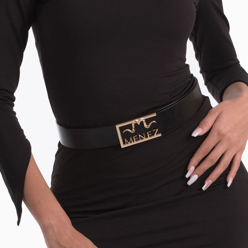 "MENEZ ""M"" HORNS BLACK LEATHER BELT FOR WOMEN - MENEZ"