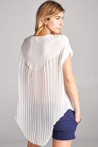 High Low Flowy Pleated Solid Chiffon Top
