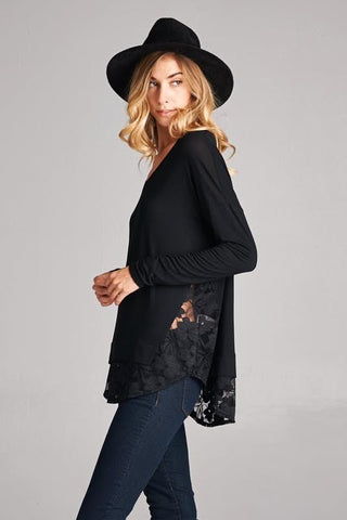 Side Lace Contrast Detail Top