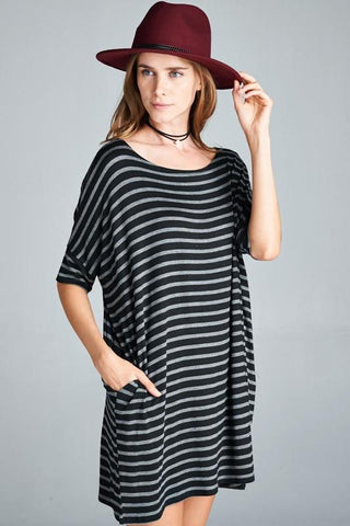 Striped Loose Fit Dress Top