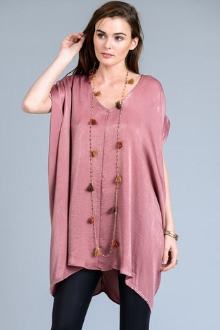Short Sleeve V-Neck Satin Tunic Dress