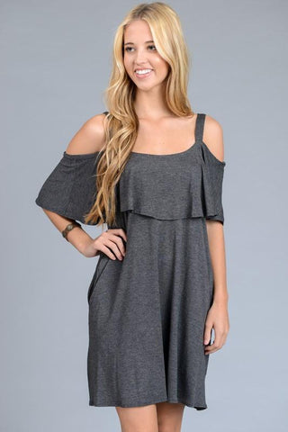 Off Shoulder Cold Shoulder Ruffle Dress