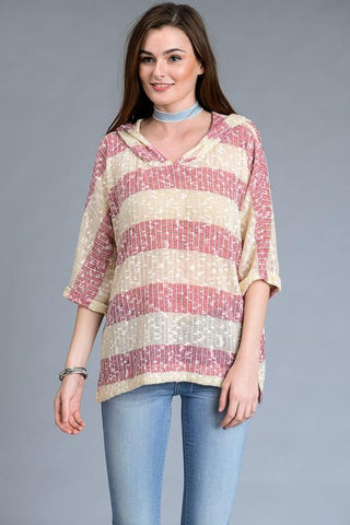 Folded Detail Stripe Top