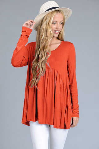Long Sleeve Loose Fit Twist Detail Top