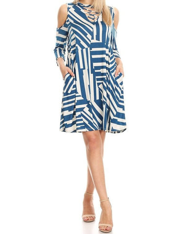 3/4 Sleeve Cold Shoulder Stripe Chevron Print Dress