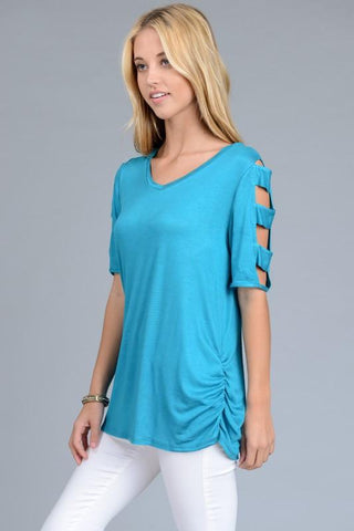 Multi Cold Shoulder Bands V-Neck Top