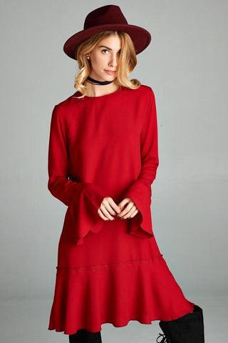 Bell Sleeved Key Hole Detailed Dress