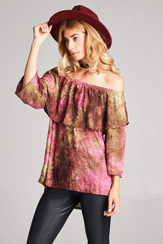 Flower Print Solid Fabric Accent Top