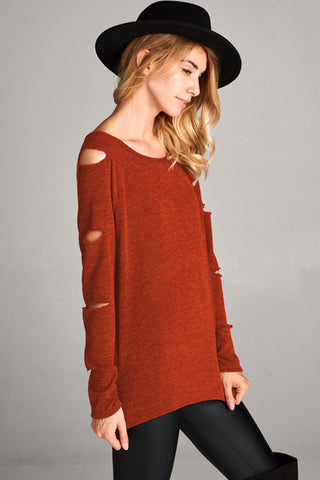 Long Sleeve Openings Two Toned Sweater Top