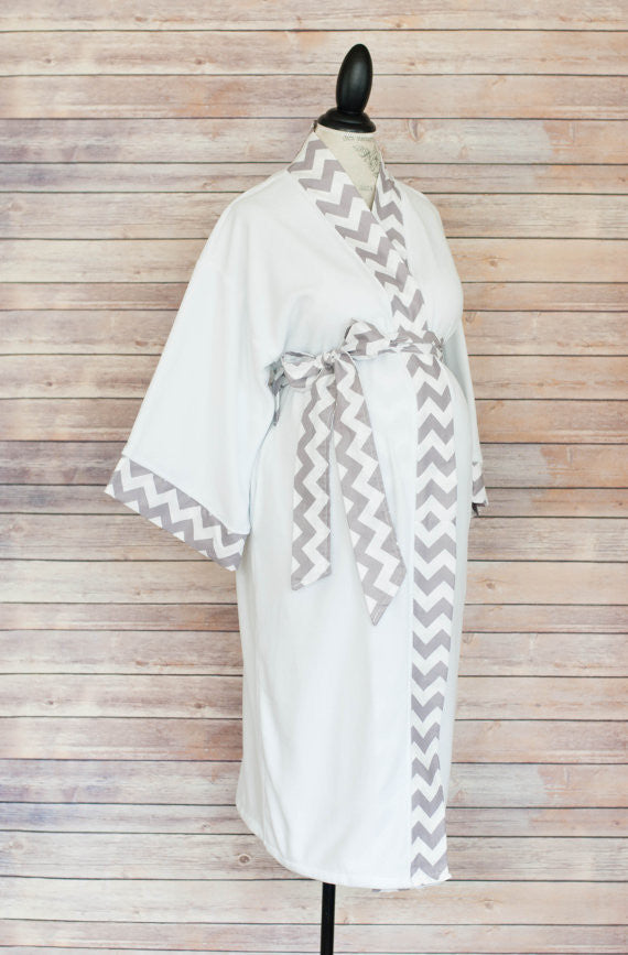 Gray Chevron -  Maternity Delivery & Nursing Robe
