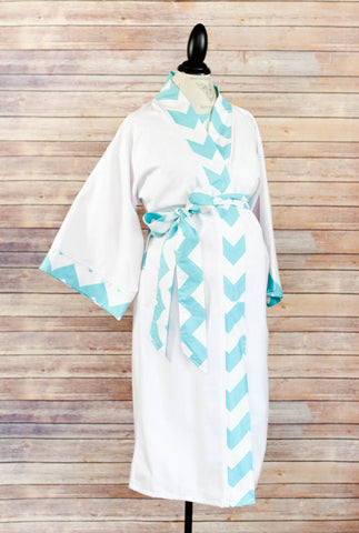 Aqua Chevron - Maternity Delivery & Nursing Robe
