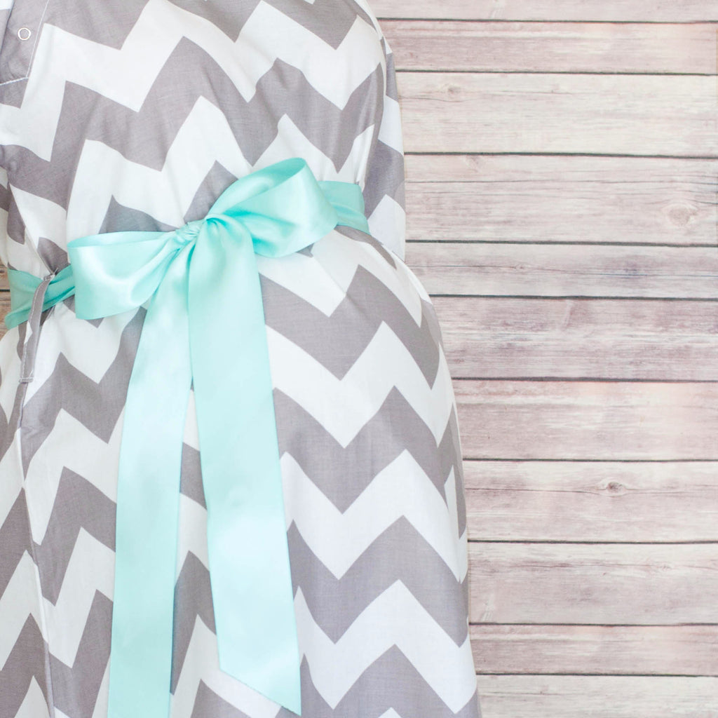Gray Chevron - Maternity Labor & Delivery Hospital Gown
