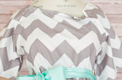 Gray Chevron - Maternity Hospital Delivery & Nursing Gown