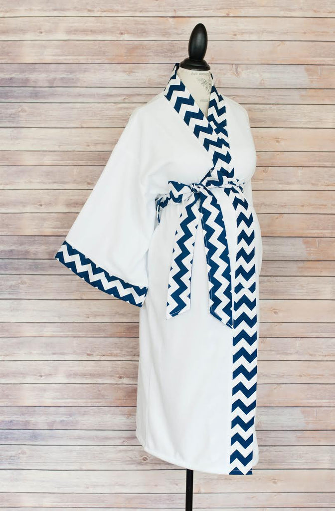 Navy Chevron - Maternity Delivery & Nursing Robe