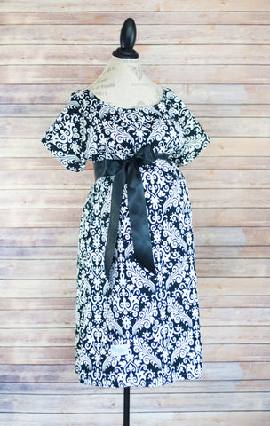 Black Damask - Maternity Labor & Delivery Hospital Gown