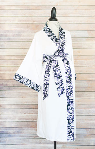 Black Damask -  Maternity Delivery & Nursing Robe