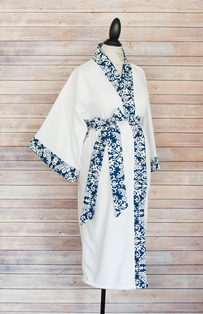 Navy Damask - Maternity Delivery & Nursing Robe
