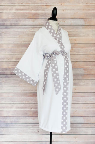 Gray Polka Dot - Maternity Delivery & Nursing Robe