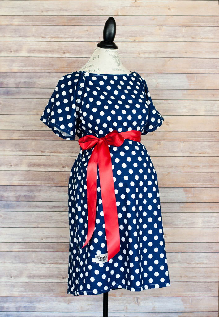 Navy Polka Dot - Maternity Labor and Delivery Hospital Gown
