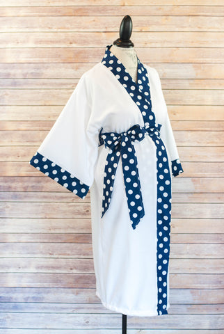 Navy Polka Dot-  Maternity Delivery & Nursing Robe