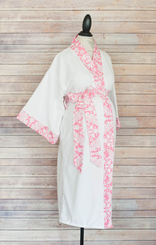 Pink Damask - Maternity Delivery & Nursing Robe