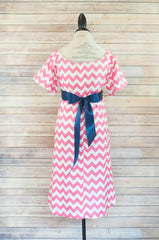 Pink Chevron - Maternity Hospital Delivery & Nursing Gown