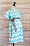 Aqua Chevron - Maternity Labor & Delivery Hospital Gown