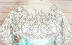 Gray Damask - Maternity Hospital Delivery & Nursing Gown