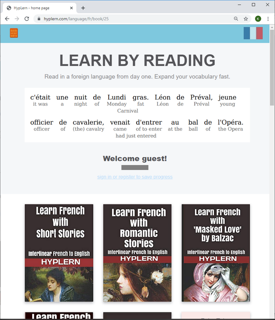 Learn French through reading combined with flash cards