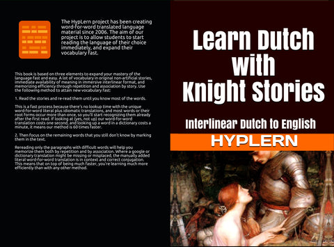 HypLern - Learn Dutch with Knight Stories - Front cover and back cover of the paperback version - I love it!