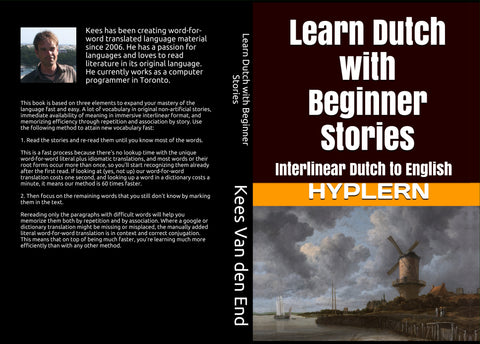 Learn Dutch with Beginner stories - Front cover and back cover of the paperback version - this book has free mp3s as well
