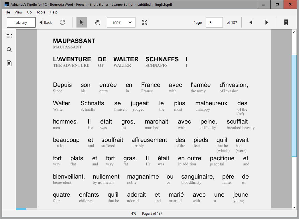 Bermuda Word French Short Stories in Interlinear format with word-for-word translations