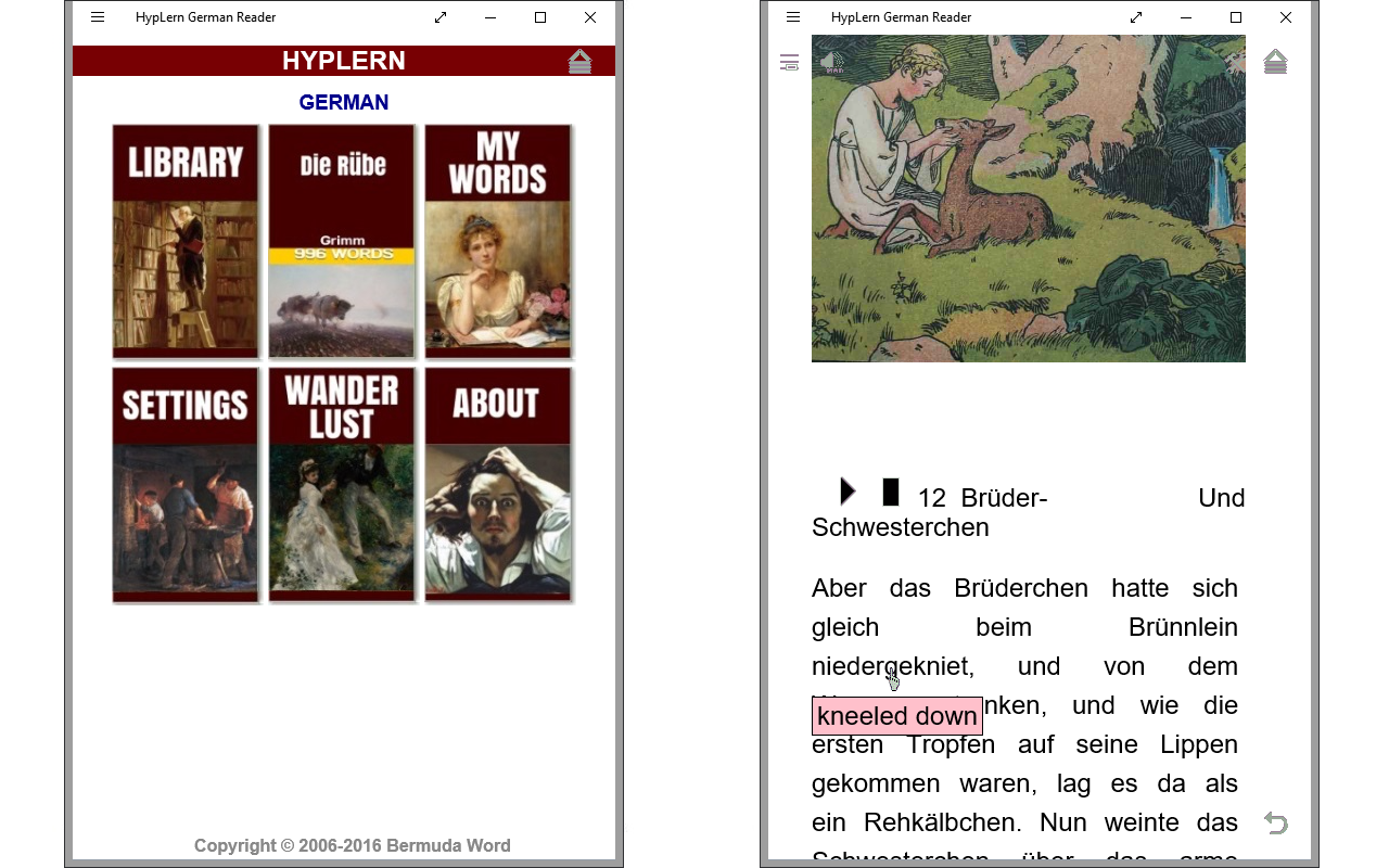 Learn German with interlinear or pop-up format