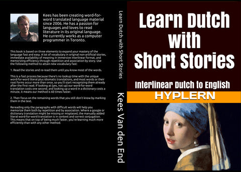 HypLern - Learn Dutch with Short Stories - Front cover and back cover of the paperback version - Download the free mp3s from the learn-to-read-foreign-languages.com site!