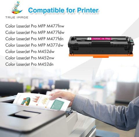 HP 410 A Compatible Toner Cartridge (Black, Cyan, Magenta, Yellow, 4 Pack)