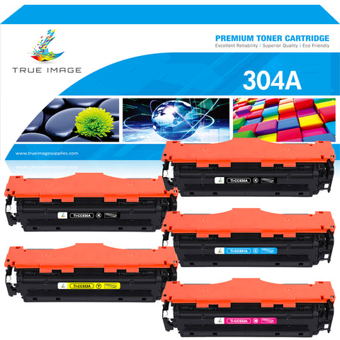 True Image Compatible Toner Cartridge Replacement for HP CC530A CC531A CC532A CC533A CE410X (Black Cyan Yellow Magenta, 5-Pack)