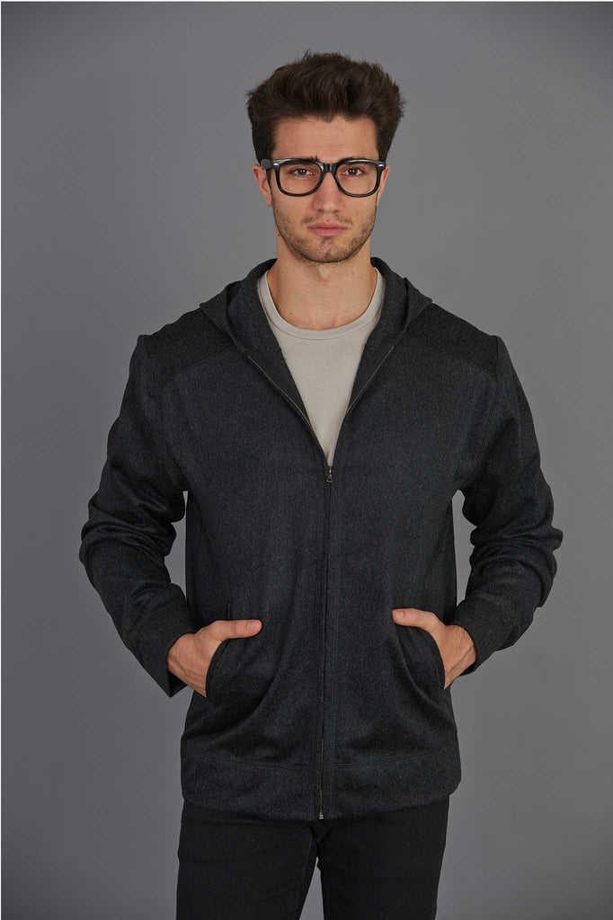 Cashmere and Wool Zip Front Hoodie
