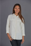 3/4 Sleeve Hemp / Silk Button Shirt
