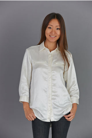 3/4 Sleeve Silk / Hemp Button Shirt