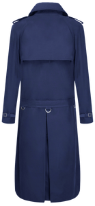 Mens Navy Traditional Double Breasted Long Trench Coat Mac