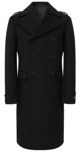 Mens Double Breasted Black Wool & Cashmere Great Coat