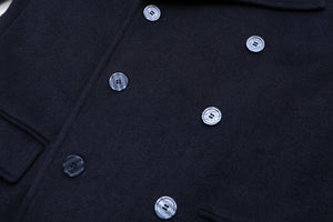 Mens Double Breasted Navy Blue Wool & Cashmere Great Coat