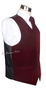 Mens Classic Burgundy Red Velvet Waistcoat With Ascot Tie