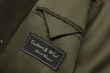Mens Double Breasted Olive Green Wool & Cashmere Great Coat