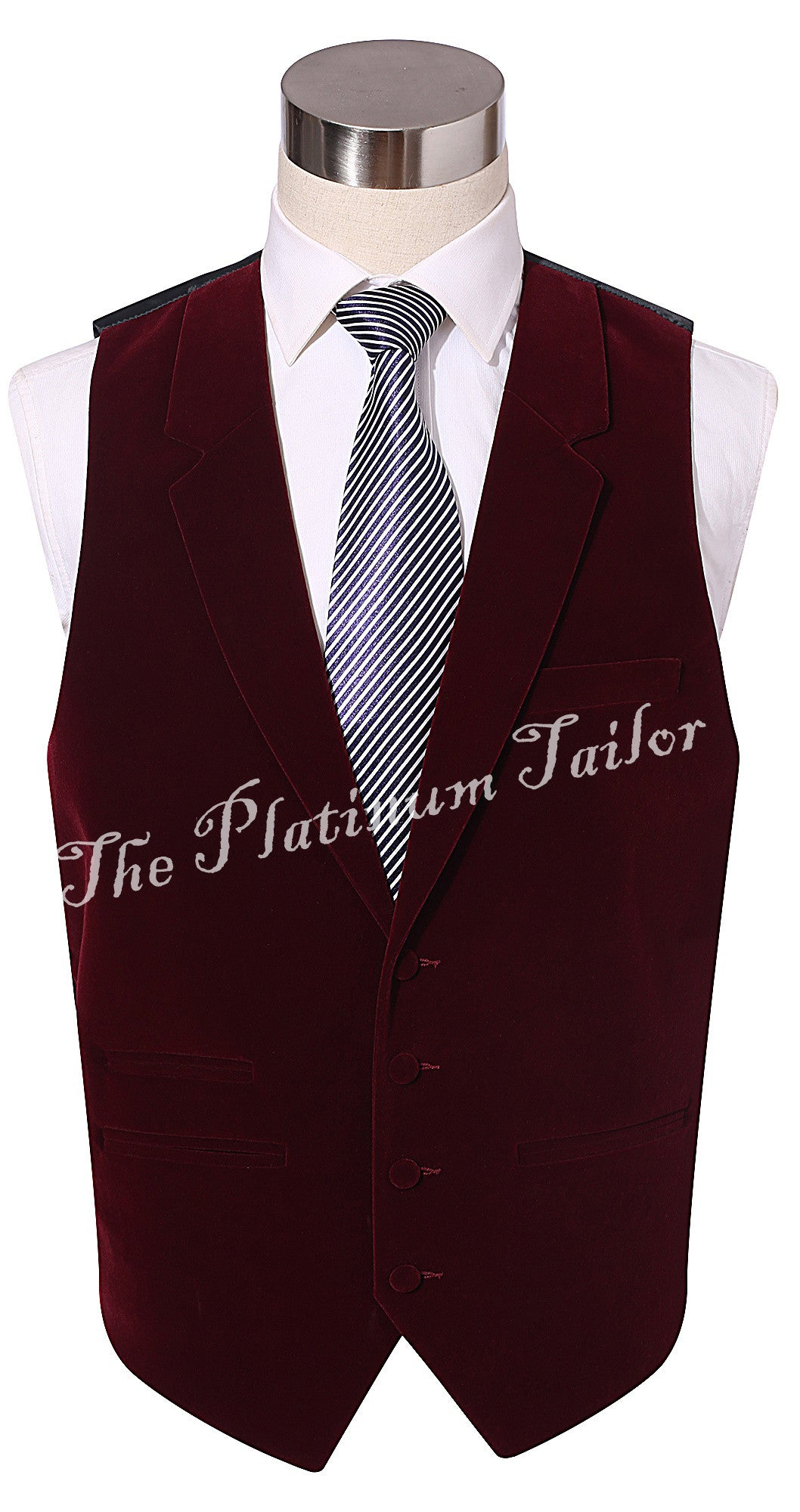 Mens Burgundy Red Designer Velvet Waistcoat With Lapel, Ticket Pocket