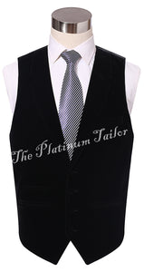 Mens Black Designer Velvet Waistcoat With Lapel & Ticket Pocket