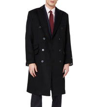 Mens Black Double Breasted Long Cashmere & Wool Overcoat