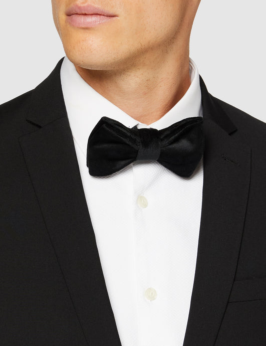Mens Black Formal Velvet Bow Tie Pre Tied