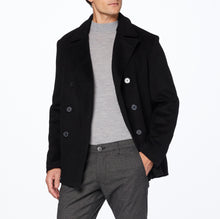 Mens Double Breasted Black Wool & Cashmere Pea Coat