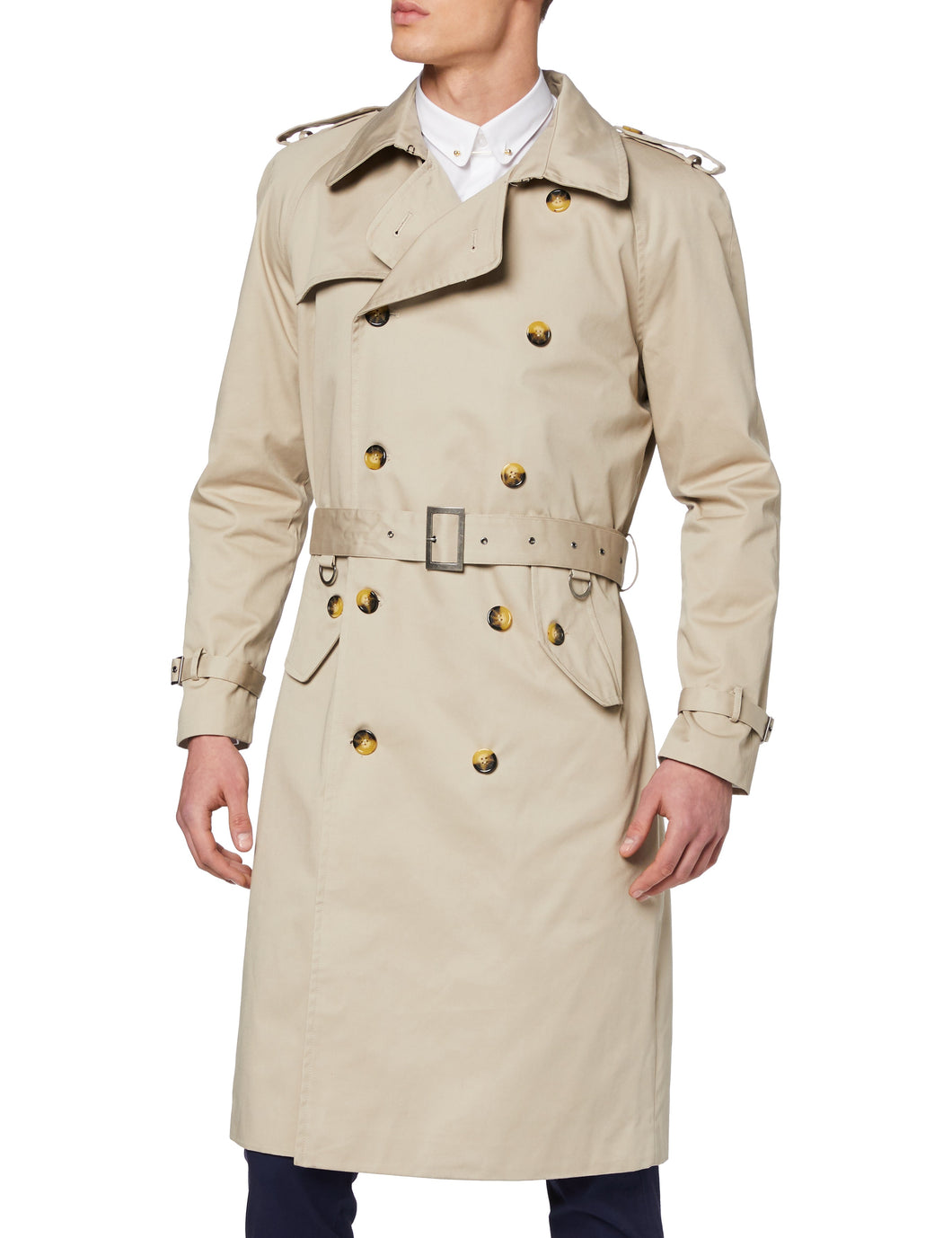 Mens Stone Beige Traditional Double Breasted Long Trench Coat Cotton Mac
